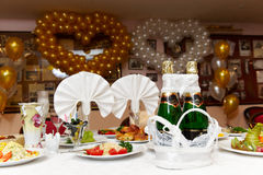 Festive table at a banquet of the wedding. With shampagne Stock Image