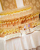 Festive table at a banquet of the wedding - champagne glasses Stock Photos