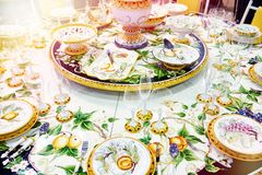 Festive table with beautiful tableware stock photo
