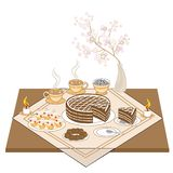 A festive table with candles and a chocolate cake. Hot tea or coffee, sweets, muffins - an exquisite treat for every taste. royalty free illustration