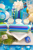 Festive table with christmas cracker decoration Stock Photography