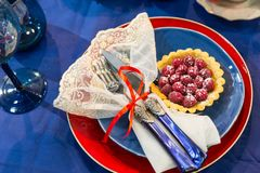 Festive table decorated with fruits and berries Stock Photography
