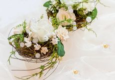 Festive table decoration in creamy white to 50th wedding-anniver Royalty Free Stock Photo