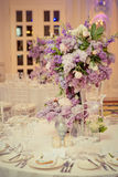 Festive table decoration in Lilac colours. Royalty Free Stock Image