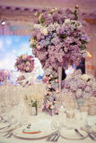 Festive table decoration in Lilac colours. Royalty Free Stock Images