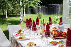Festive table. With fruit and drinks stock image