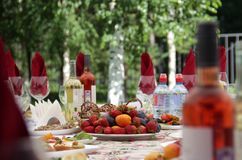 Festive table. With fruit and drinks stock photography