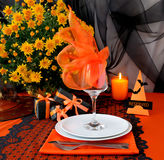 Festive table with gifts for Halloween Stock Image