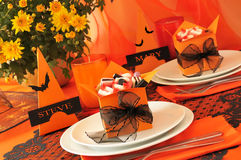 Festive table with gifts for Halloween Royalty Free Stock Photo