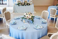 Festive table layout. Wedding decor. Table layout in style classic Stock Photography