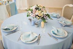 Festive table layout. Wedding decor. Table layout in style classic Royalty Free Stock Image