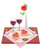 Festive table for lovers. Valentine s Day. A delicious heart-shaped cake, two glasses of wine of frost. Candles give a romantic vector illustration