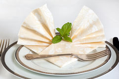 Festive table and napkins Royalty Free Stock Photo