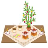 Festive table. New Year bouquet from the Christmas tree. Delicious cake and tea. Candles give a romantic mood. Vector illustration royalty free illustration