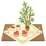 Festive table. New Year bouquet from the Christmas tree. Delicious heart-shaped cake and tea or coffee. Candles give a romantic vector illustration