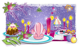 Festive table for the New Year. Illustration of a festive table for the New Year Stock Image