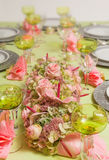 Festive table in pink and green Royalty Free Stock Photography