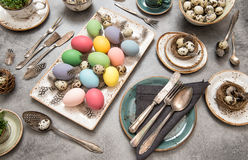Festive table place setting decoration easter eggs Stock Image