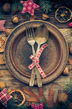 Festive table plate cutlery decorations well gifts nature Royalty Free Stock Images