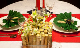 Festive table in red and green Stock Photos