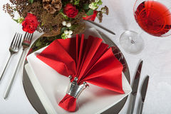 Festive table in red and white 5. Festive Christmas or wedding table with red napkins on a white tablecloth Stock Photos