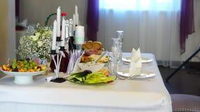 Festive table in restaraunt stock video