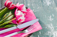 Festive Table Set for Mother`s Day or Birthday. Royalty Free Stock Photos