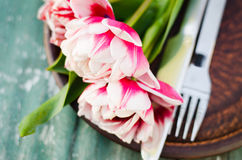 Festive Table Set for Mother`s Day or Birthday. Stock Photo