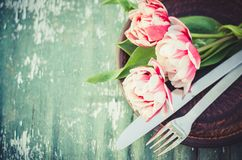 Festive Table Set for Mother`s Day or Birthday. Stock Image