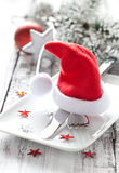 Festive table setting. For christmas Royalty Free Stock Photography