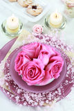 Festive table setting. For wedding or other event Stock Images