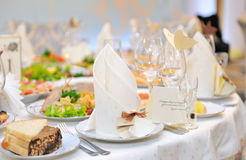 Festive table setting for  banquet . Royalty Free Stock Photos