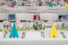 Festive table setting banquet hall Stock Images