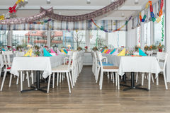 Festive table setting banquet hall Stock Image
