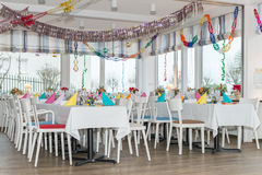 Festive table setting banquet hall. Image of festive table setting banquet hall Stock Image