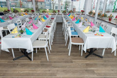 Festive table setting banquet hall. Image of festive table setting banquet hall Royalty Free Stock Images
