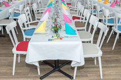 Festive table setting banquet hall Stock Photography