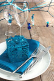 Festive table setting. In blue color Royalty Free Stock Photo