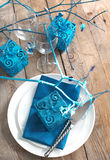 Festive table setting. In blue color Royalty Free Stock Image
