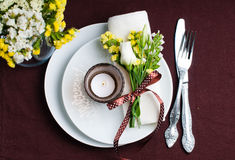 Festive table setting in brown Royalty Free Stock Photography