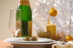 Festive table setting for Christmas Stock Image