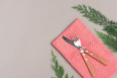 Festive table setting for Christmas holiday dinner with copy spa. Ce Royalty Free Stock Image