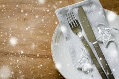 Festive Table Setting for Christmas Holiday. Stock Images