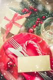 Festive Table Setting for Christmas Holiday. Stock Photos