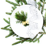 Festive  table setting with Christmas ornaments and copy space f Royalty Free Stock Image