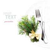 Festive  table setting with Christmas ornaments and copy space f Stock Photo