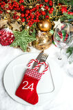 Festive table setting with christmas tree decoration Royalty Free Stock Photos