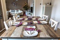 Festive table setting decoration christmas snowman 4 Royalty Free Stock Photos