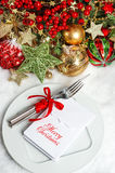 Festive table setting decoration. dinner invitation concept Royalty Free Stock Photos