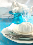 Festive table setting and decoration. In white and blue colors Royalty Free Stock Image